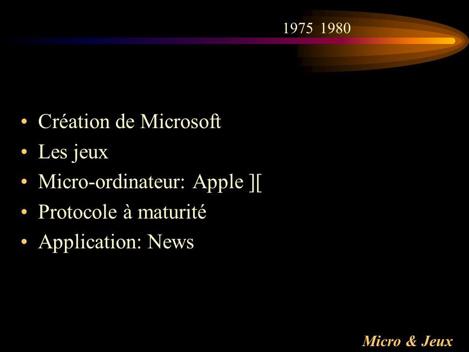 Micro-ordinateur: Apple ][ Protocole à maturité Application: News